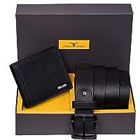 Urban Forest Brian Black Leather Wallet & Black Casual Belt Combo Gift Set for Men