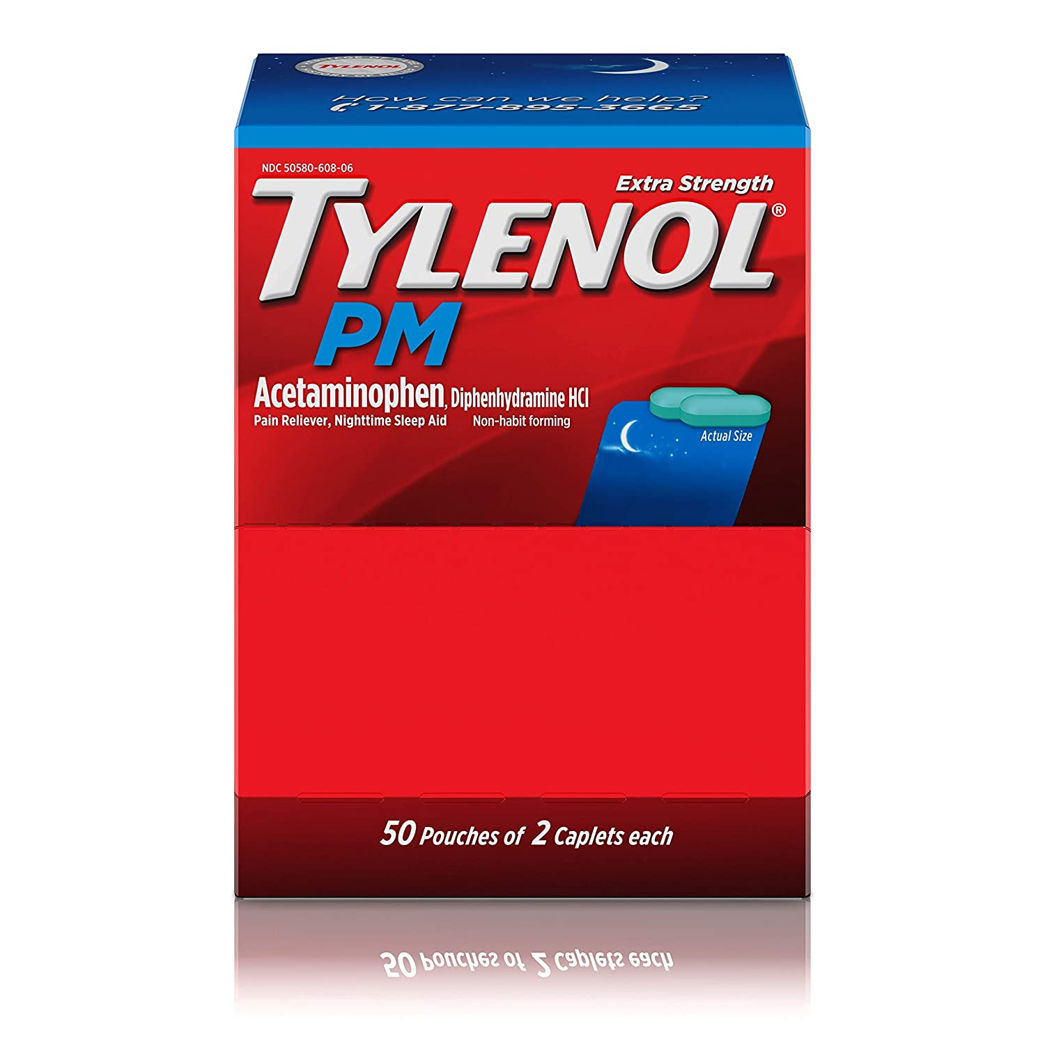 Tylenol PM Extra Strength Pain Reliever & Sleep Aid with Acetaminophen, 50 Travel Packs of 2 ct.