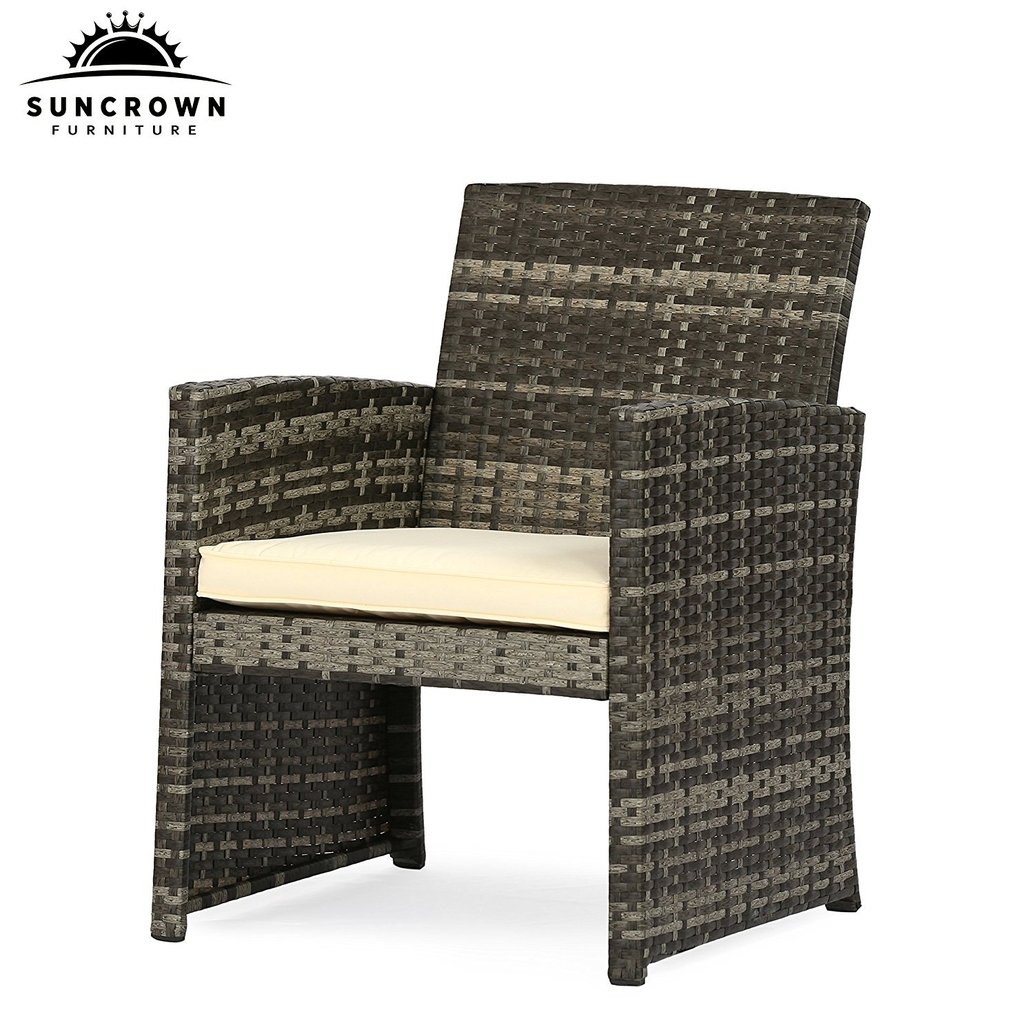 Suncrown Outdoor Furniture Grey Wicker Conversation Set with Glass Top Table (4-Piece Set) All-Weather | Thick, Durable Cushions with Washable Covers | Porch, Backyard, Pool or Garden by Suncrown (Image #3)