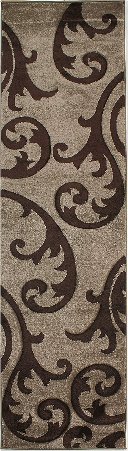 53 x77 Lord of Rugs Modern Damask Design Hand Carved Soft Quality Thick Beige Brown Rug in 5 sizes Runner Carpet 160x230cm