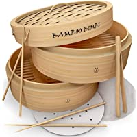Bamboo Bimbi Chinese Steamer Basket - Traditional 10 Inch Bamboo Steamer Basket for Cooking Healthy Food in 2 Tiers…