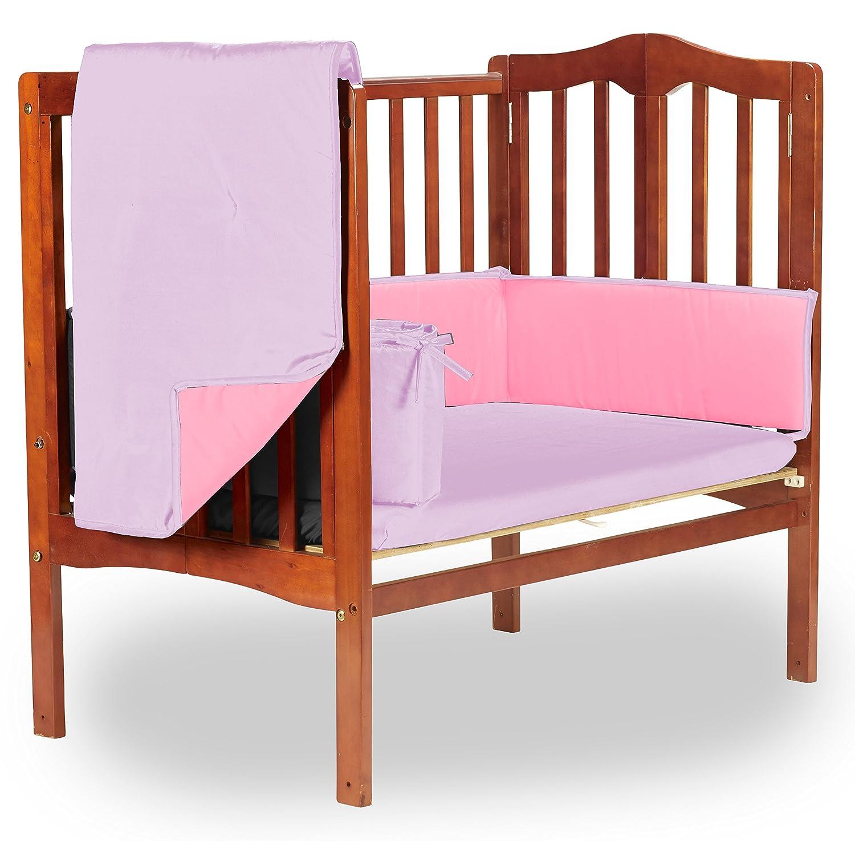 Baby Doll Bedding Reversible Mini Crib/ Port-a-Crib Bedding, Pink/Lavender by BabyDoll Bedding   B00U0X33MO