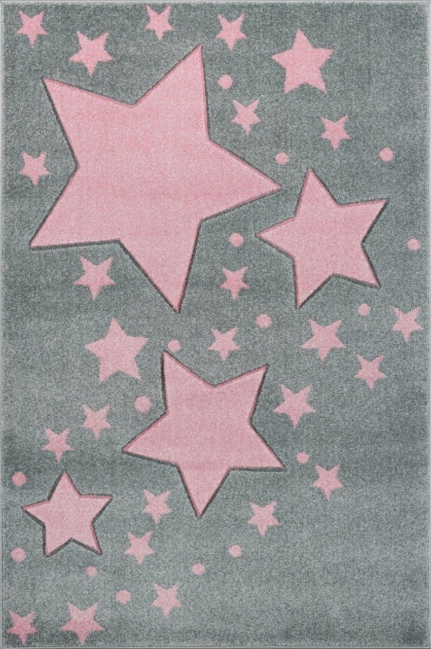 Livone Hochwertiger Kinderteppich Kinderzimmer Babyteppich mit Sternen Punkte in Silber grau rosa Größe 160 x 220 cm