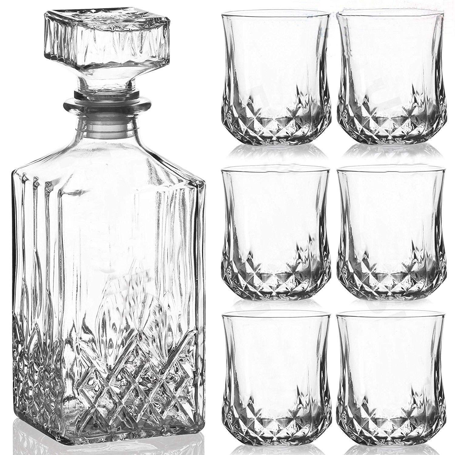 Homezone® Large Vintage Style Cut Glass Whisky Decanter With 6 Glasses. 900ml Etched Glass Drinks Decanter Wine Carafe With Glasses Perfect Home Bar Set For Him/Her.