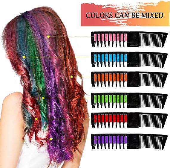 BEARBRO 6 Colores Tizas de Pelo, Peine Temporal Hair Chalk Set, Tinte no tóxico Color de Tiza para niñas y niños Pelo teñido, Fiesta, Navidad y ...