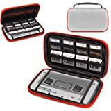 3DSXL Case, Orzly Carry Case for New 3DS XL Or Original Nintendo 3DS XL - Protective Hard Shell Portable Travel Case Pouch for 3DS XL Consoles with Slots for Games & Zip Pocket - RED on Grey