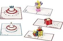 3D Geburtstagskarten - 5 Stück (Motive: 2 x Torte & 2 x Geschenk & 1 x Luftballons) - Pop-Up-Karten - handgefertigt - inclusive Umschlag und Schutzhülle - Gruß-Karte, Glückwunsch-Karte, Geschenk-Karte