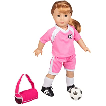 075f1d6a8 Amazon.com: Dress Along Dolly Soccer Outfit for American Girl and 18