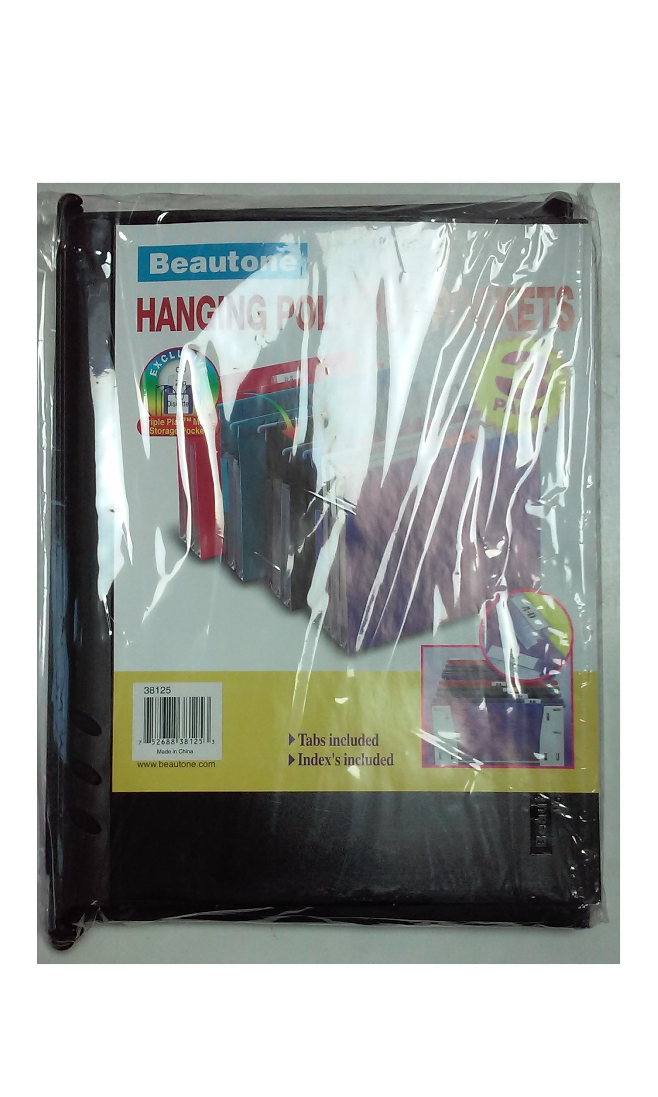 Beautone Hanging Poly File Pockets 3 Pack Tabs Included Indexes Included with Media Storage Pocket (Black)