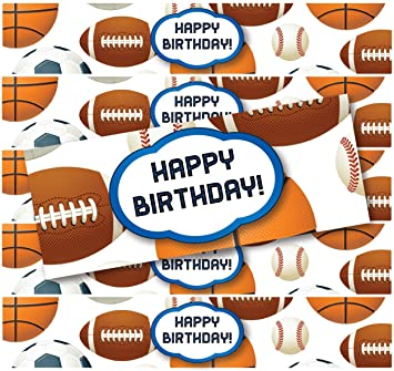 PRODUCT80 Football Baseball And Soccer Sports Water Bottle Labels For Birthday Parties Set Of