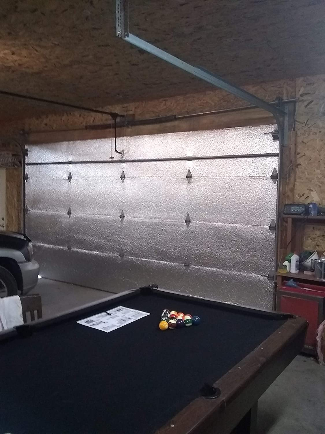 US Energy Products Two Car Garage Door (16'x7') & (16'x8') Insulation Kit: (Reflective Foil Poly-Air Core Insulation, Razor Knife, Squeegee, New Improved Double Sided Adhesive Tape.