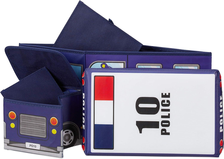 Para ni/ños y ni/ños Cami/ón de bomberos Taburete infantil plegable Caja con compartimento 50 L Relaxdays Ba/úl para juguetes Forma de autob/ús