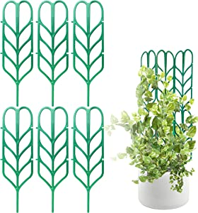 PeerBasics, Indoor Plant Trellis, 6 Pack, Climbing Garden Leaf Shape Supports, for DYI Climbing Stems Stalks & Vine Vegetable Potted Garden (6)
