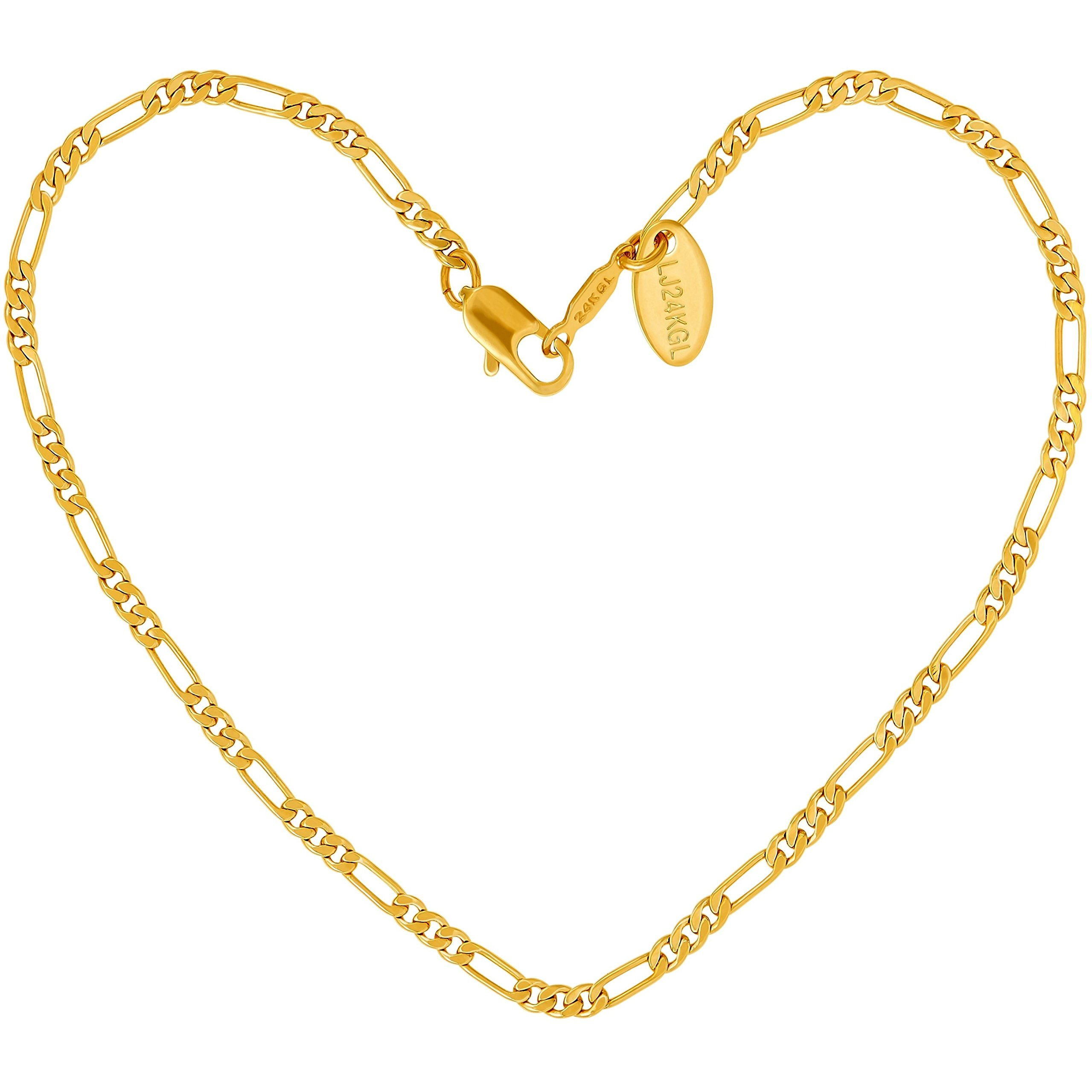 Lifetime Jewelry Anklets for Women Men and Teen Girls - 24K Real Gold Plated 2.5mm Figaro Chain - Ankle Bracelet to wear at Beach or Party - 9-11 inches (10, yellow-gold-plated-base)