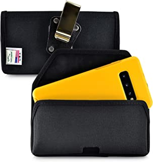 product image for Turtleback Belt Clip Case Designed for Galaxy S10+ Plus Fits with OTTERBOX Symmetry, Black Nylon Holster Pouch with Heavy Duty Rotating Belt Clip, Horizontal Made in USA