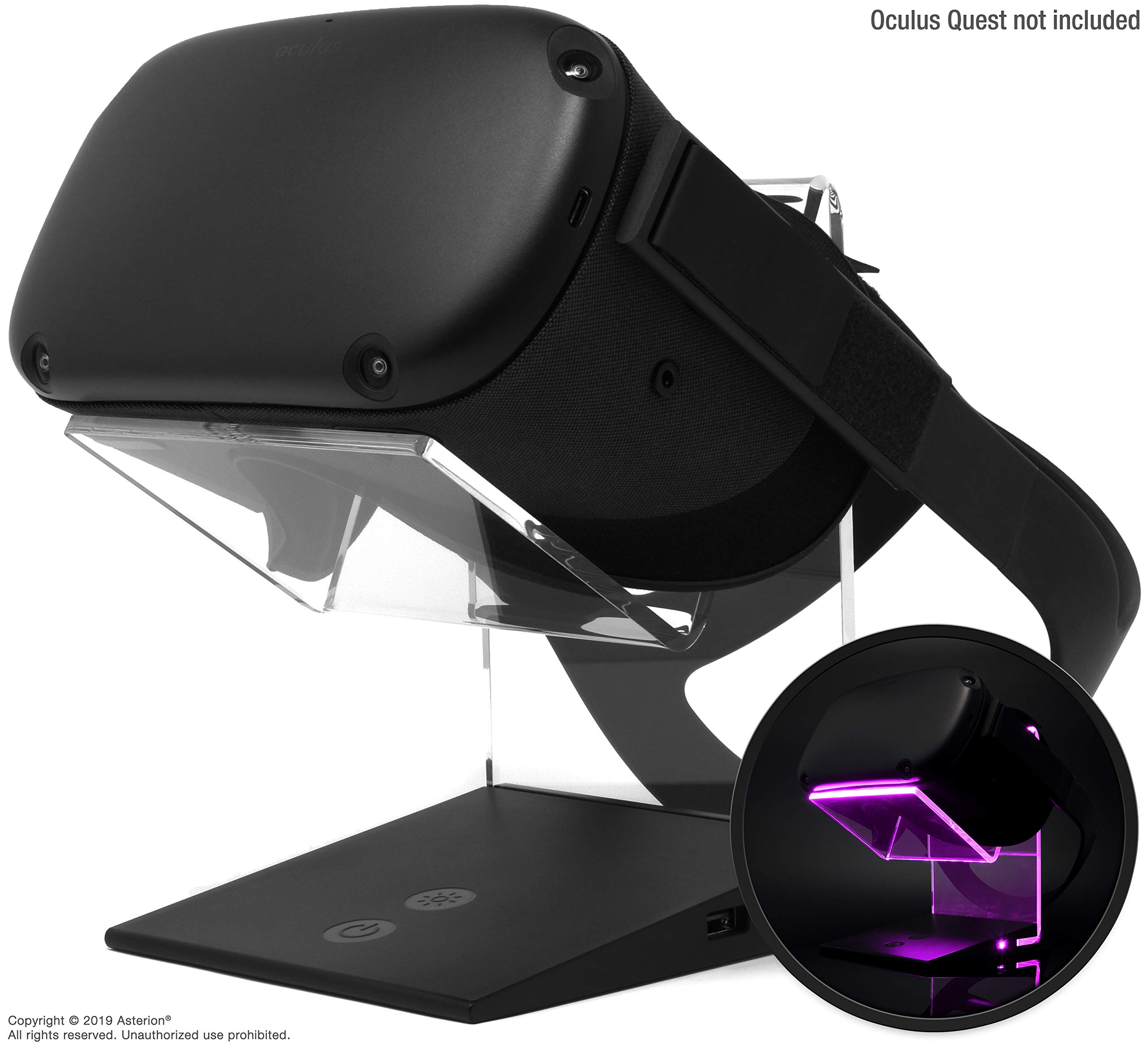 Asterion Illuminated Charging VR Stand – Universally Compatible with Oculus Quest 2, Quest 1, HTC Vive, Rift-s, Go…