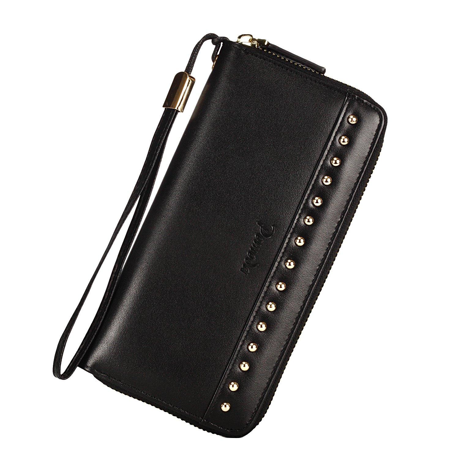 Pomoda RFID Wristlet Wallet Genuine Leather Wallet Zip Around Clutch(Black)