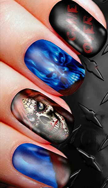Amazon Game Over Death Skull Gamer Nail Decals Transfer