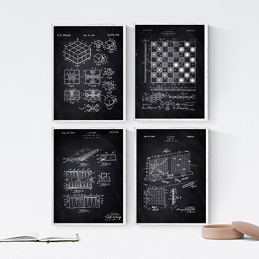 Nacnic Negro - Pack de 4 Láminas con Patentes de Juegos DE Mesa. Set de Posters con