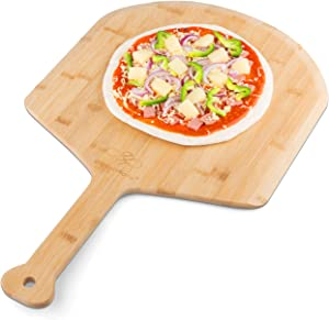 Pizza Peel - Extra Large - Paddle - Spatula Premium Restaurant Grade Bamboo - 9″ Handle -Lightweight Easy to Use for Professional Homemade Pizza -The Pizza Peel Wood is 100% Natural Oil Finished (15)