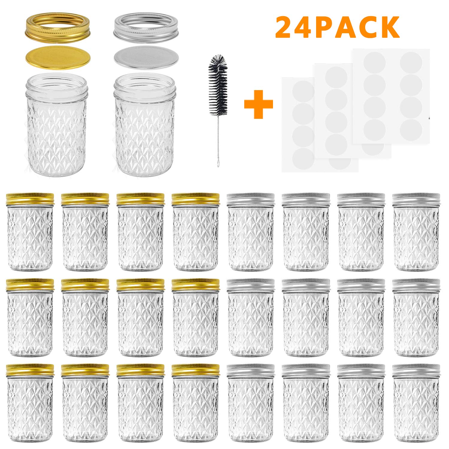 Mason Jars, 8 OZ Mason Jars Canning Jars Jelly Jars With Regular Lids and Bands, Ideal for Jam, Honey, Wedding Favors, Shower Favors, Baby Foods, DIY Magnetic Spice Jars, 24 Pack By SPANLA