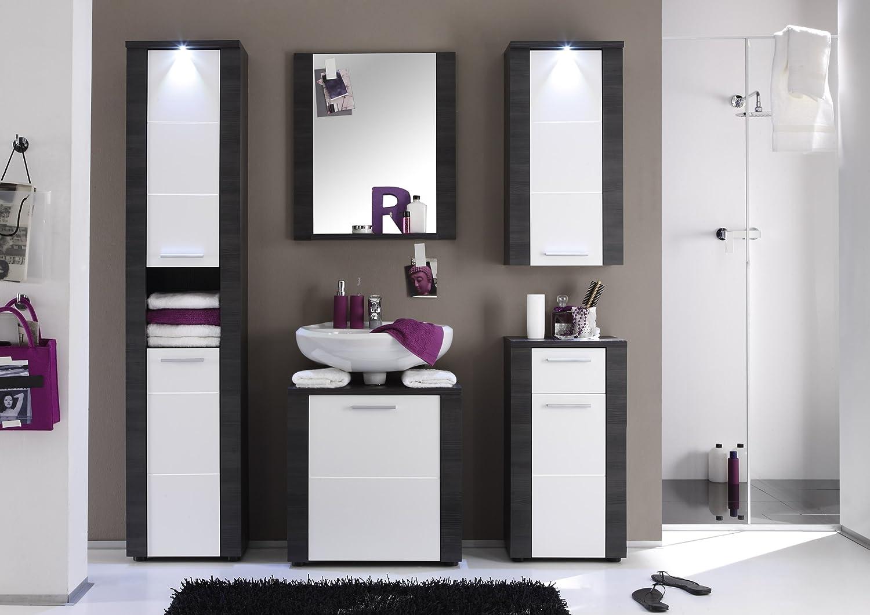 Badezimmermöbel weiß grau  trendteam XP90210 Bad Möbel Set 5-teilig weiss, Esche grau ...