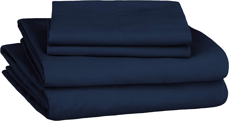 AmazonBasics Soft Microfiber Sheet Set with Elastic Pockets - Queen, Navy