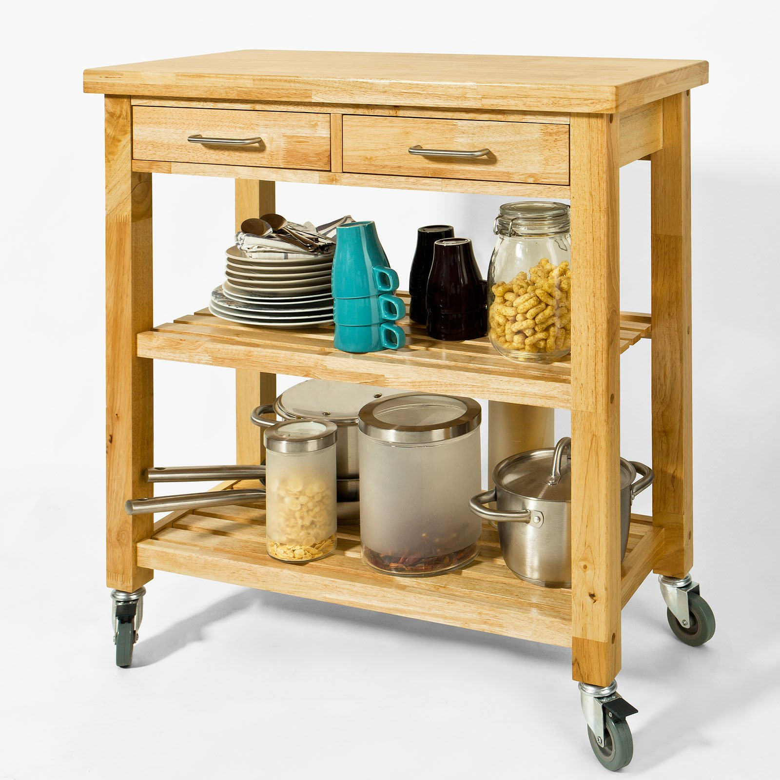 Haotian FKW24-N (natual), Rubber Wood Kitchen Trolley Cart with Two Drawers & Shelves, Kitchen Storage Trolley, L80cm(31.5in)xW40cm(15.7in)xH90cm(35.4in) by Haotian (Image #2)