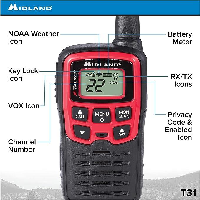 22 Channel FRS Walkie Talkie Midland Radio Corporation T31X4VP 38 Privacy Codes Black//Red Up to 26 Mile Range Two-Way Radio 4 Pack Midland NOAA Weather Alert X-TALKER T31VP