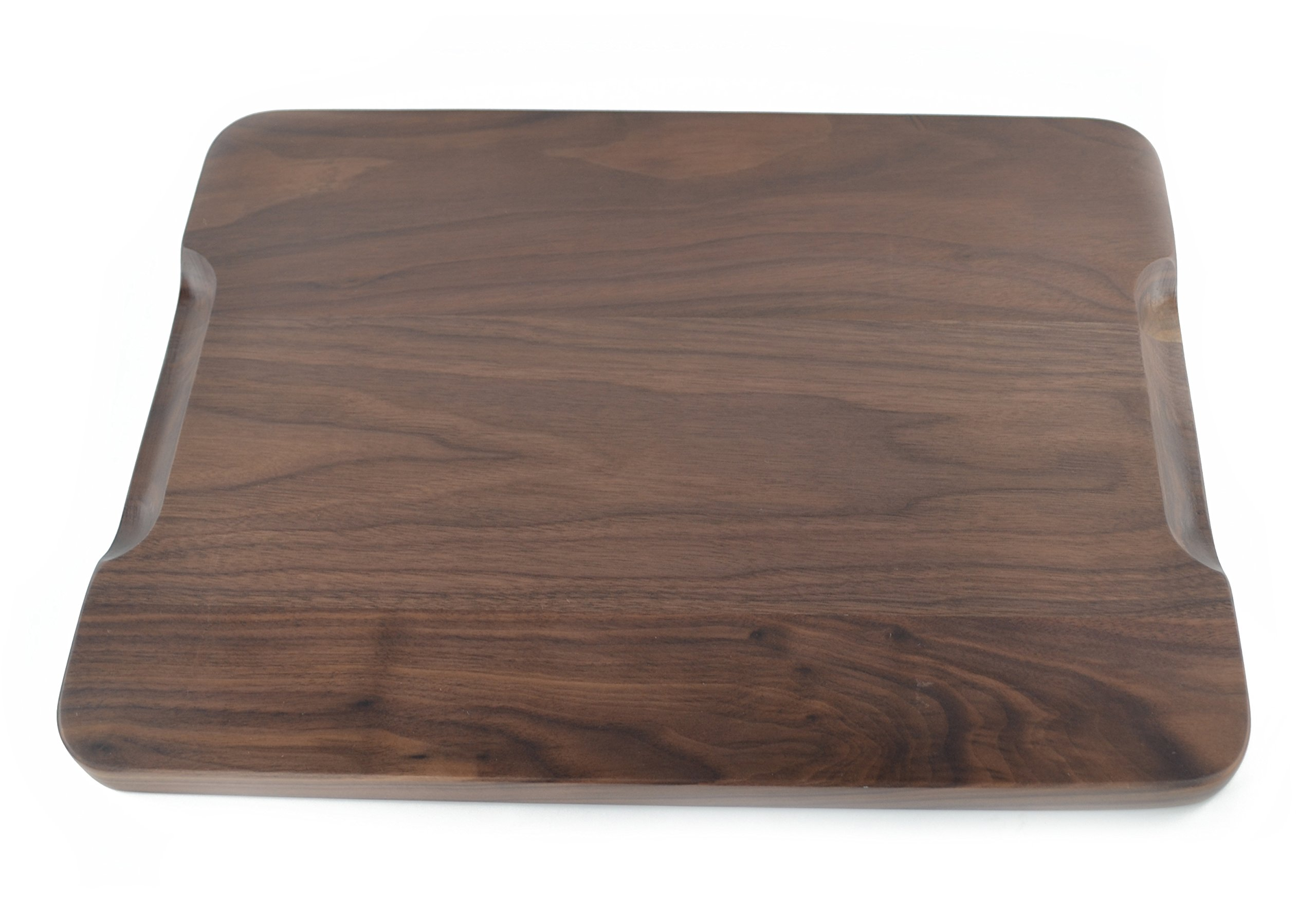 Samyo Black Walnut Solid Wood Rectangular Tableware Serving Tray Handcrafted Decorative Trays Food Tray Serving Platters with gripper for Coffee Wine Cocktail Fruit Meals (Large Size) by SAMYO (Image #3)