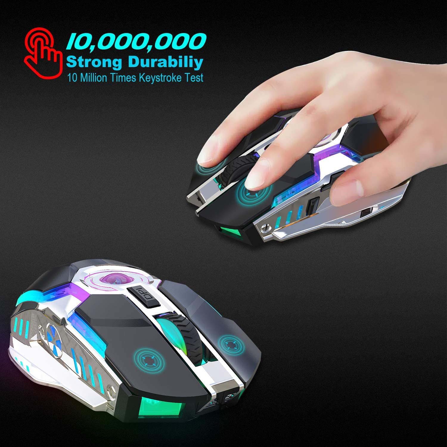 Alician Electronics for Rechargeable Wireless Mouse Silent Ergonomic Gaming Mouse RGB Backlight for Laptop Computer ZERODATE-T30GY RGB