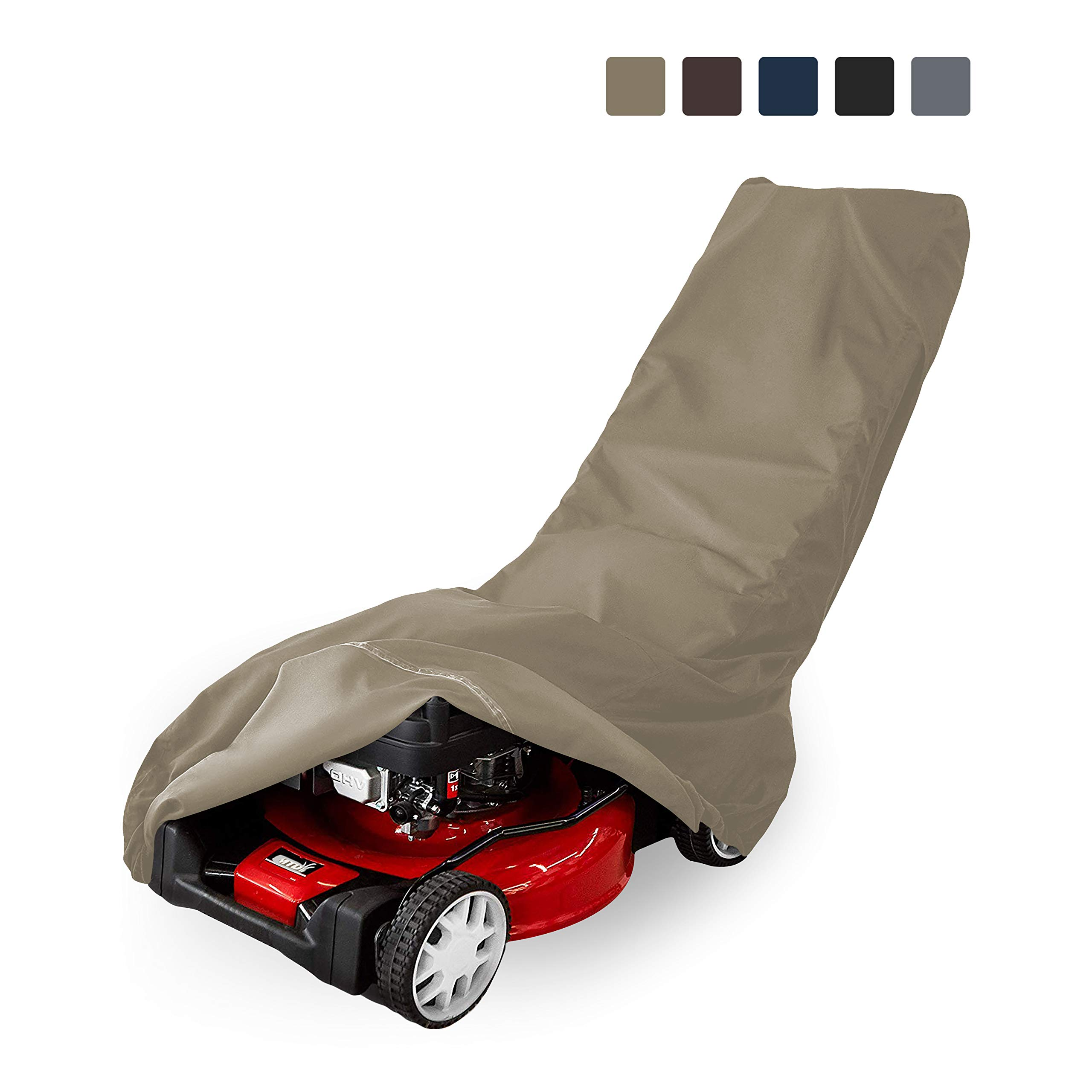 Lawn Mower Cover 12 Oz Waterproof - Customize Cover with Any Size - 100% UV & Weather Resistant Grass Mower Cover with Air Pocket and Drawstring with Snug Fit (57'' W x 39'' D x 44'' H, Beige)