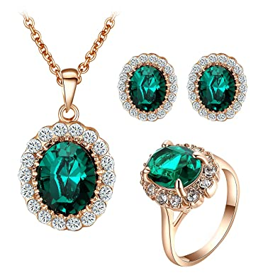 e101397e9 Yoursfs Kate Middleton Style Jewelry Set Oval Green Crystal Necklace Stud  Earrings Necklace Ring Mothers Gift