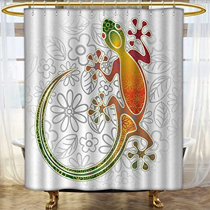 Anhounine Batik Shower Curtain Collection By Native Southeast Asian Common House Gecko Moon Lizard Tropical Monster