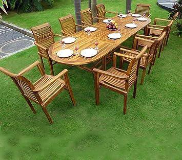 Salon de jardin Teck Brut 8 places ETHNIKA Ermanno G | Delamaison ...
