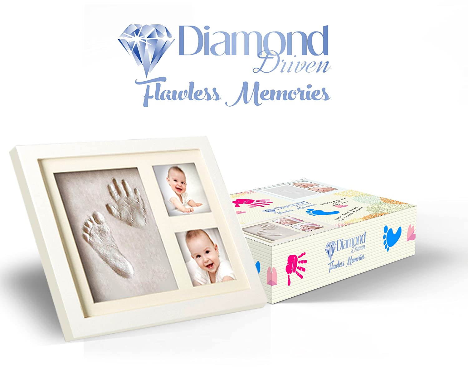 Non-Toxic Clay Mold Two Picture Frame Keepsake Frame Acrylic Cover with Premium Quality Wood Clay by Diamond Driven DD-BabyFrameHandFoot Baby Footprint Kit Baby Shower Photo Frame