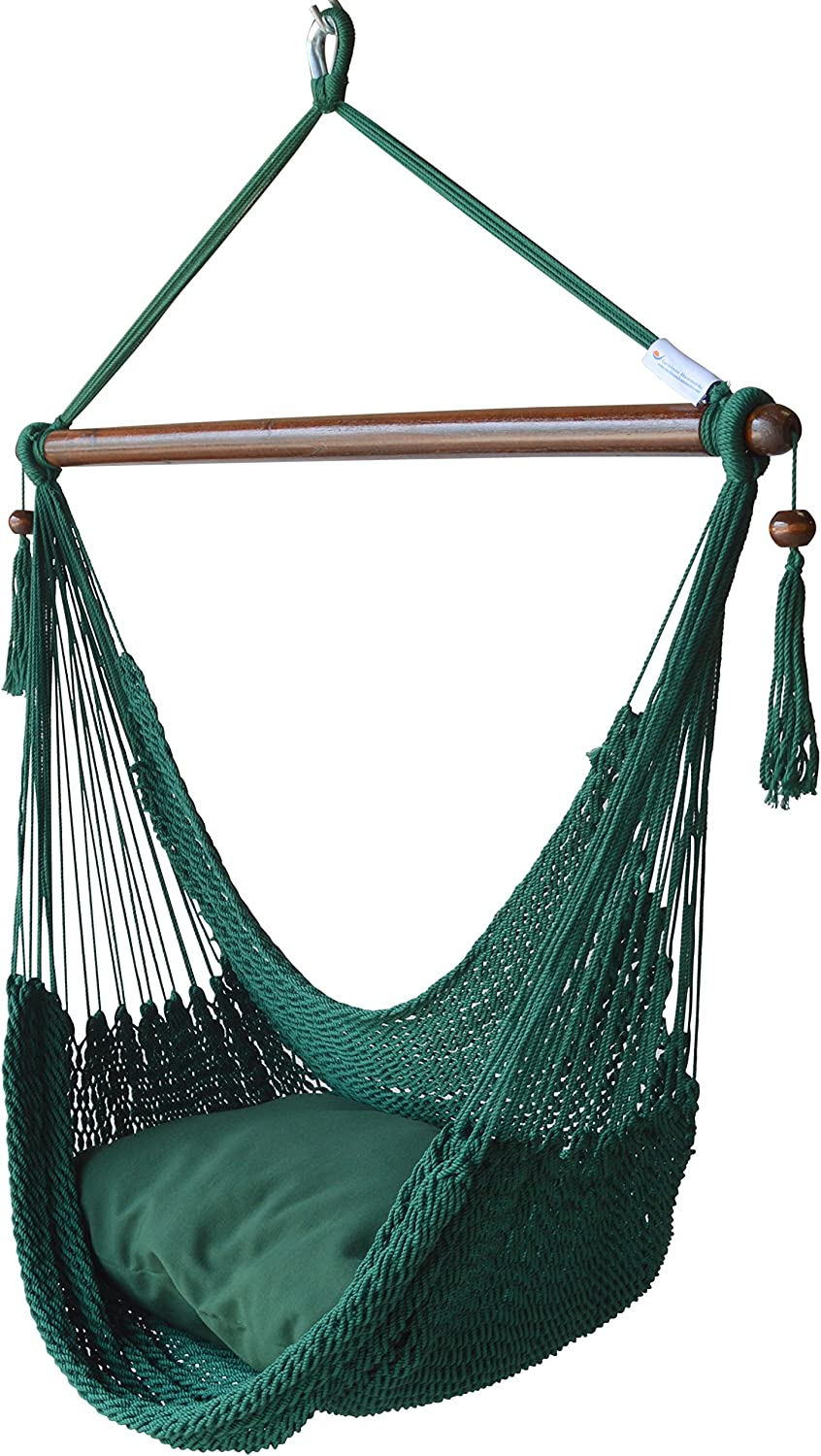 Caribbean Hammocks Hammock Chair with Footrest - 40 inch - Green - 200 lbs Weight Capacity
