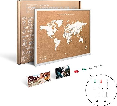 Miss Wood Map L Mapa del Mundo de Corcho con Marco, Blanco, 48 x ...