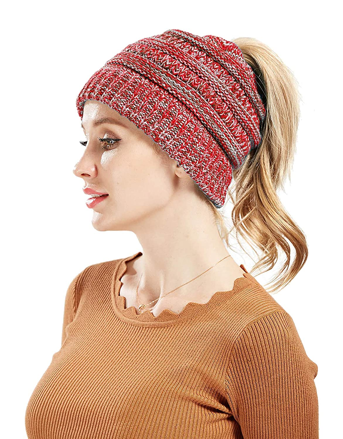 EINSKEY Womens Messy Bun Beanie Hat Soft Stretch Cable Knit Ponytail Skull Cap