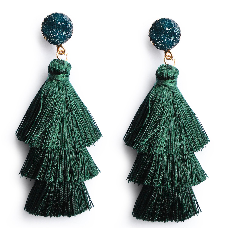 Me&Hz Deep Green Tassel Fringe Earrings Long Dangle Drop Tiered Thread Tassel Ear Drop Earrings for Women Girl