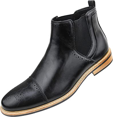 Manmade Leather, Cap Toe Mens Boots