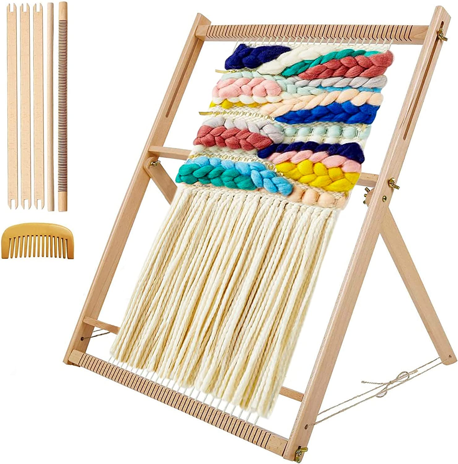 Tapestry Weaving Loom Multi-Craft with Adjustable Stand Mother's Day Gift Weaving Loom DIY Hand-Knitted Machine Woven Set for Beginners and Children 23.6 x 18.5inch