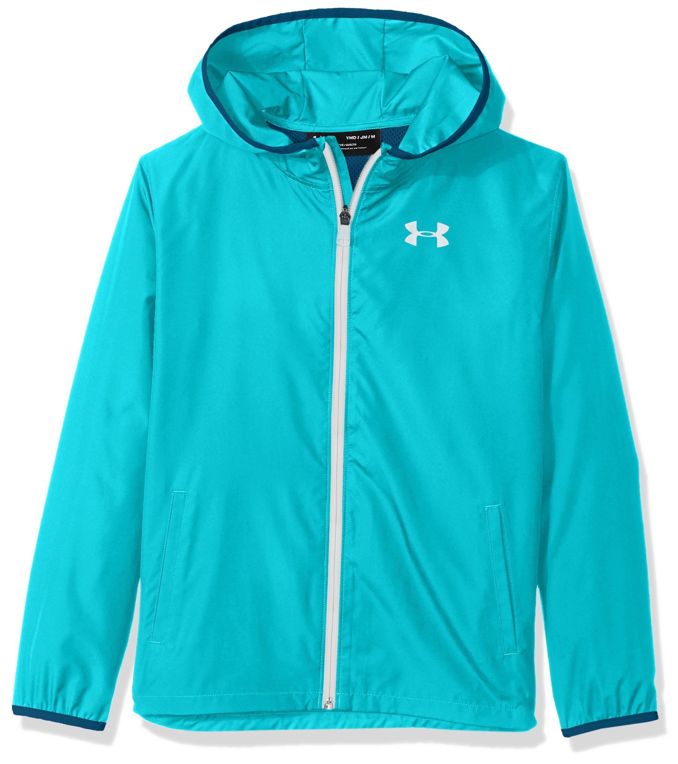Under Armour Girls' Sackpack Jacket, Teal Punch (594)/White, Youth Medium by Under Armour