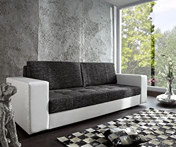 Delife Couch Giorgio Weiss Schwarz 250x100 Schlafsofa Inklusive
