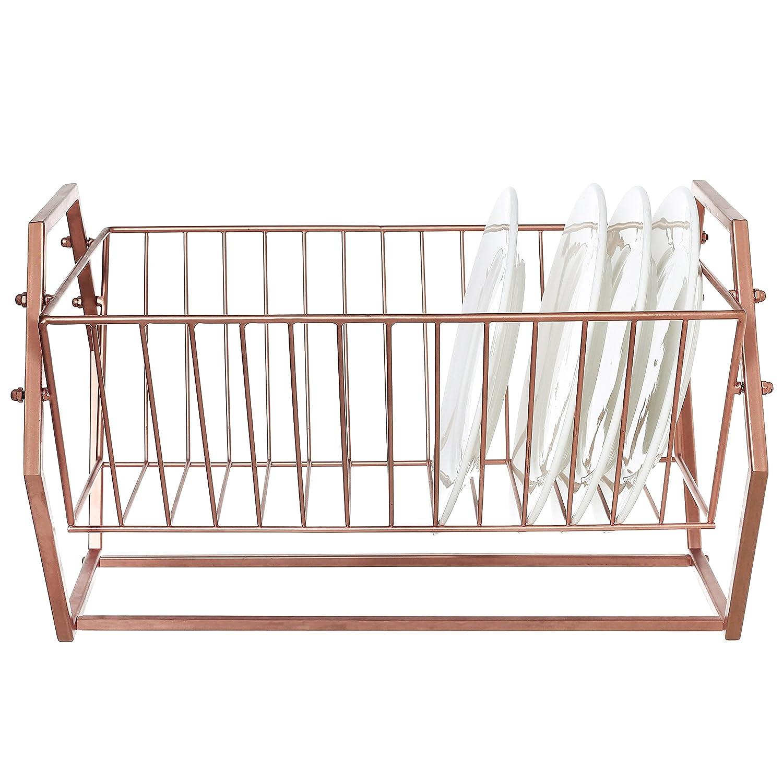 Hexagonal-Design 14 Slot Kitchen Plates Storage Organizer Countertop Black Metal Dish Drying Rack