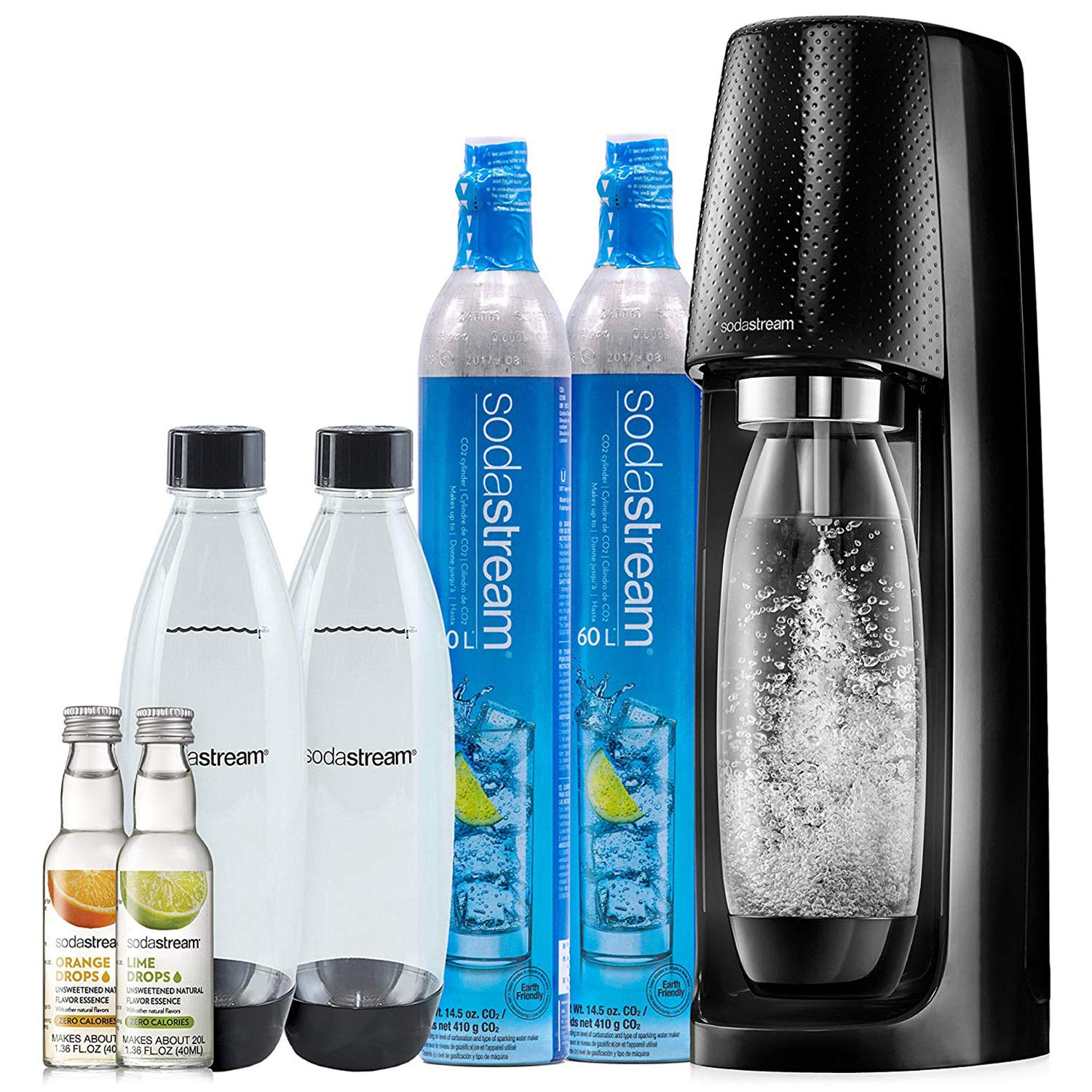 SodaStream Fizzi Sparkling Water Maker Bundle (Black), with CO2, BPA free Bottles, and 0 Calorie Fruit Drops Flavors by sodastream
