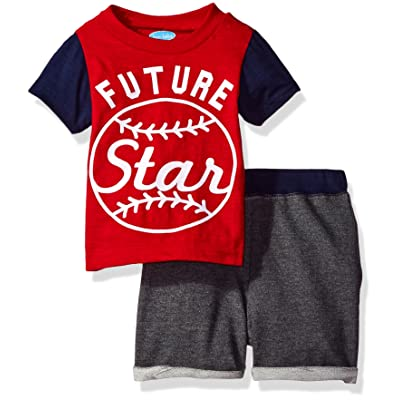 e3ad277bf4a6 Bon Bebe Baby Boys  2 Piece Sleeve Top with French Terry Shorts