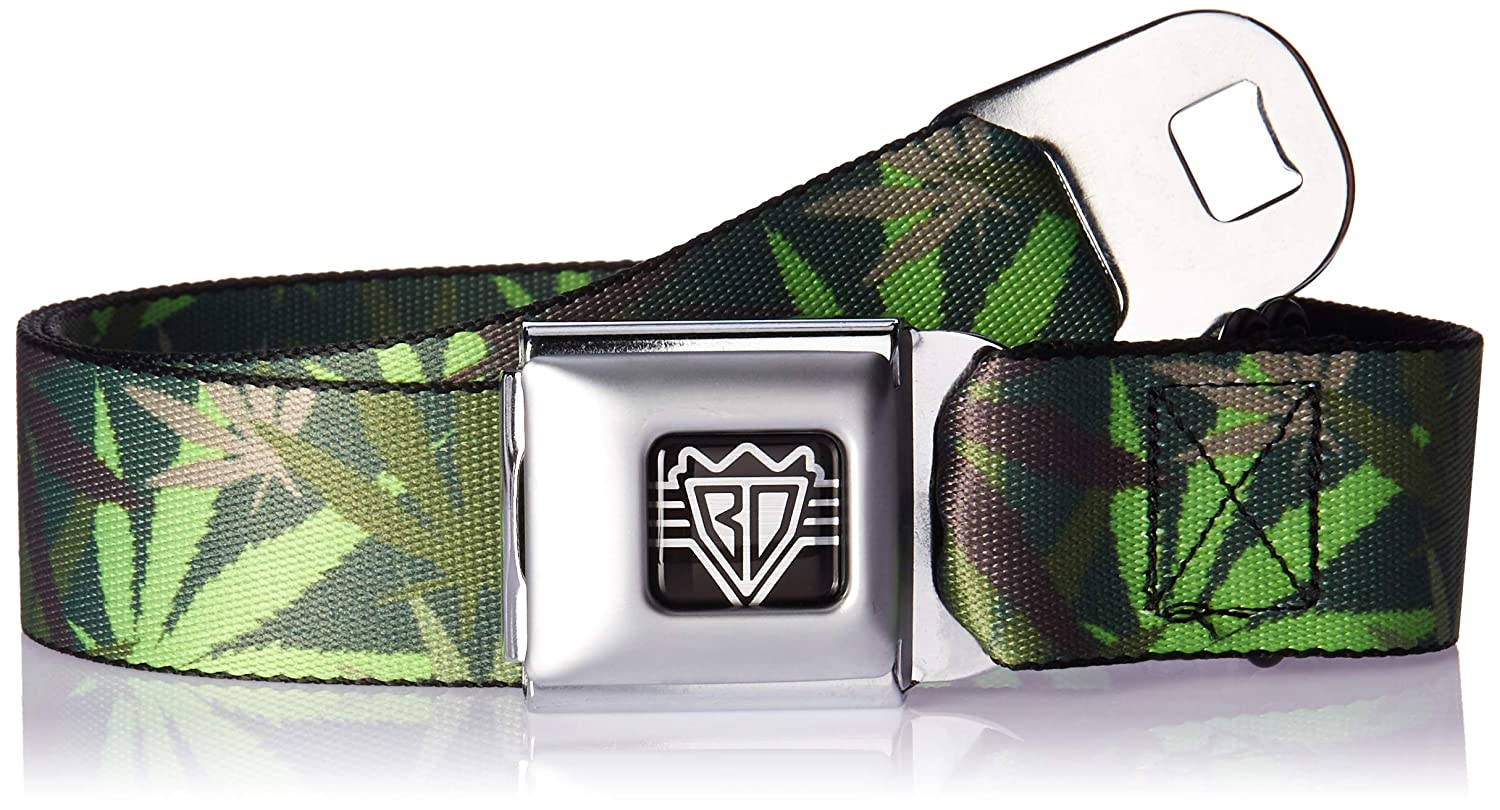 Buckle-Down Unisex-Adults Seatbelt Belt Weed XL 1.5 Wide-32-52 Inches Multicolor