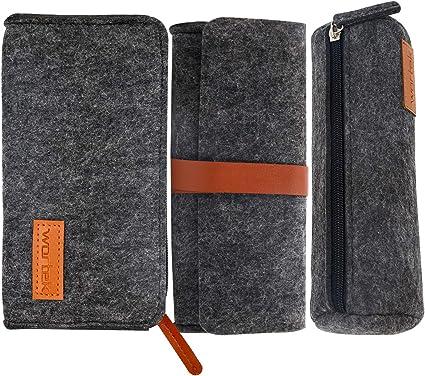 Wortek - Estuche de fieltro, 3 compartimentos, 1 estuche con rollo, 1 funda con banda de piel sintética para lápices, bolígrafos, escuadra, 3 unidades, color Negro: Amazon.es: Oficina y papelería
