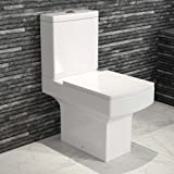 Modern Square Ceramic WC Toilet Close Coupled White Bathroom Cistern Pan + Seat by iBathUK